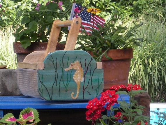 Cedar seashell/seaglass collecting basket, handpainted  seahorse