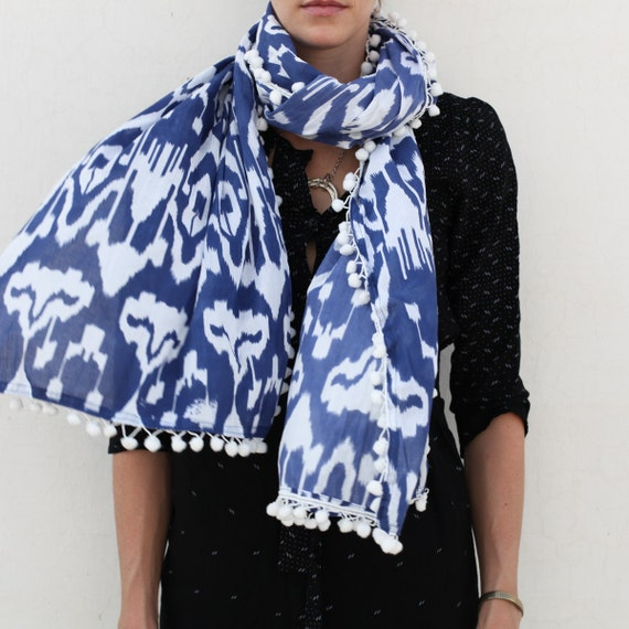 Ikat Scarf in Blue with Palm Palms
