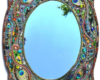SOLD - Mosaic peacock mirror - mosaic art, Real peacock feather inlays -SOLD