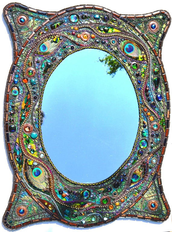Sold mosaic peacock mirror mosaic art real peacock for Miroir mosaique