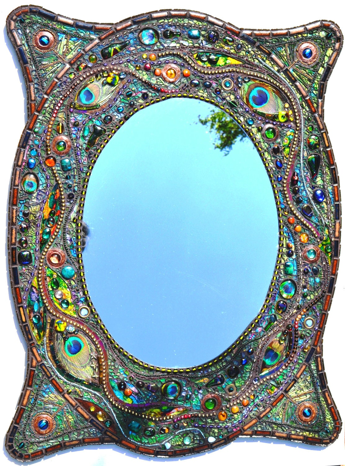 Sold mosaic peacock mirror mosaic art real peacock for Mosaique miroir