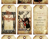 INSTANT DOWNLOAD Digital Collage sheet Vintage Alice in Wonderland tags no. VT0020