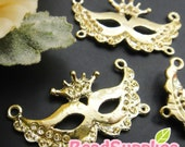 CH-ME-02189 -  Nickel Free, 14k gold plated, Mask of Venice, 4 pcs