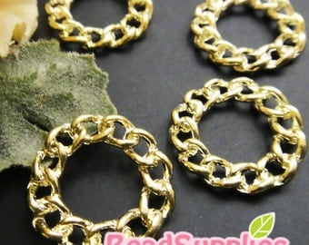 CH-ME-02195- 14k Gold plated, Chain of circle charms, 4 pcs