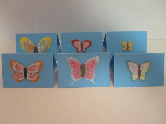 Blue Butterfly Mini Note Cards Set of 12 Birthday Cards Thank You Tags Favor Tags