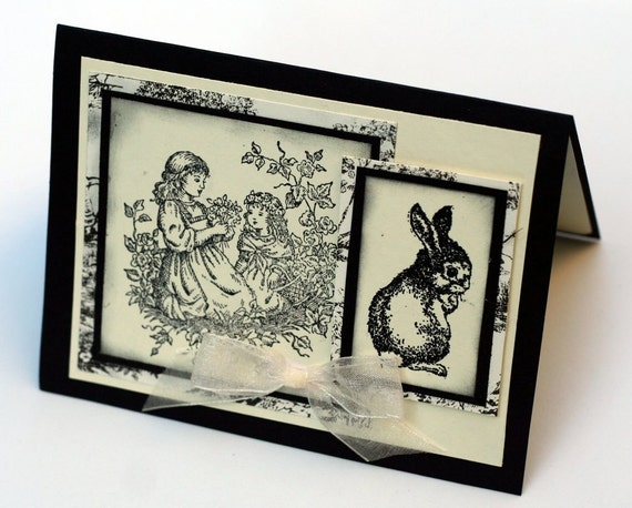 Bunny Rabbit note card, toile, Children Vintage Inspired blank card, Black Cream handstamped cards