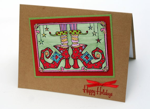Grinch note card, Elf Shoes, Funky christmas card, Happy Holidays, red green, Holiday notecards, greeting cards, Christmas in July