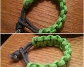 Neon Green and Dark Grey Paracord Survivor Bracelet