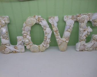 Beach Decor Shell Letters LOVE - White Shell Letters - Wooden Letters - Beach Wedding