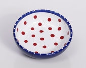 Spotted Breakfast Bowl / Red White Blue Dish Polka Dot Hand Painted Polish Pottery 4th July