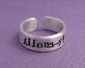 Doctor Who Inspired - Allons-y - A Hand Stamped Aluminum Ring