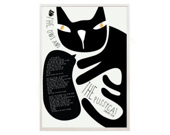 Black Cat print -  The Owl and the Pussycat print - Cat Poetry - Cat poster 3- cat shop - art print by nicemiceforyou