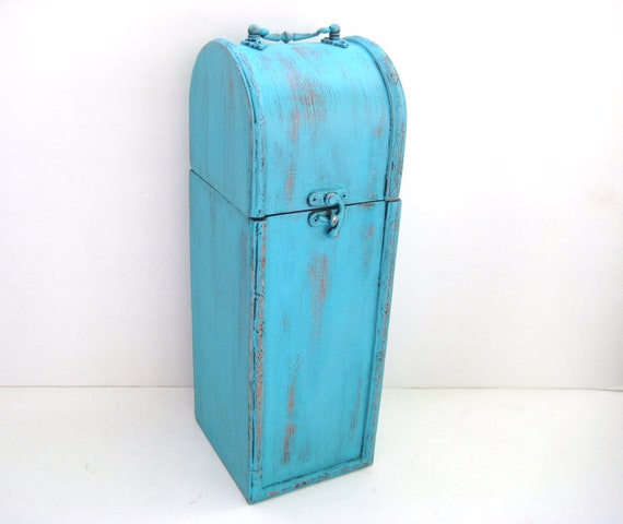 Turquoise Wine Box - Upcycled Shabby Chic Distressed - Hostess Gift