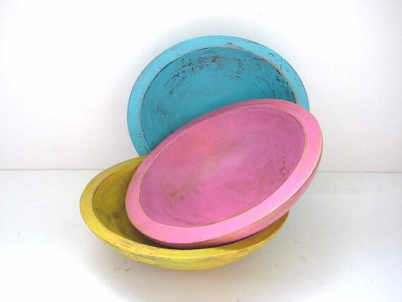 Storage Bowls - Shabby Chic Bright - Set of 3 - Turquoise Pink Mustard