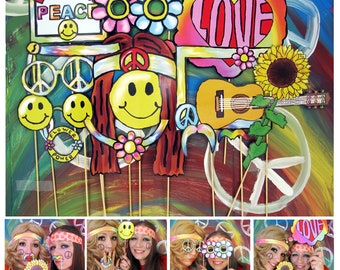hippie photo booth props - perfect for a 60s or flower power theme party