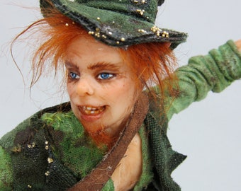 ooak Irish Leprechaun male fairy man art doll sculpture goth man fae faeries folklore legend myth