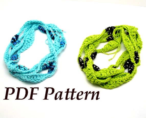 Pattern Tutorial Crochet Yarn Necklace, Handmade Fabric Beads, PDF