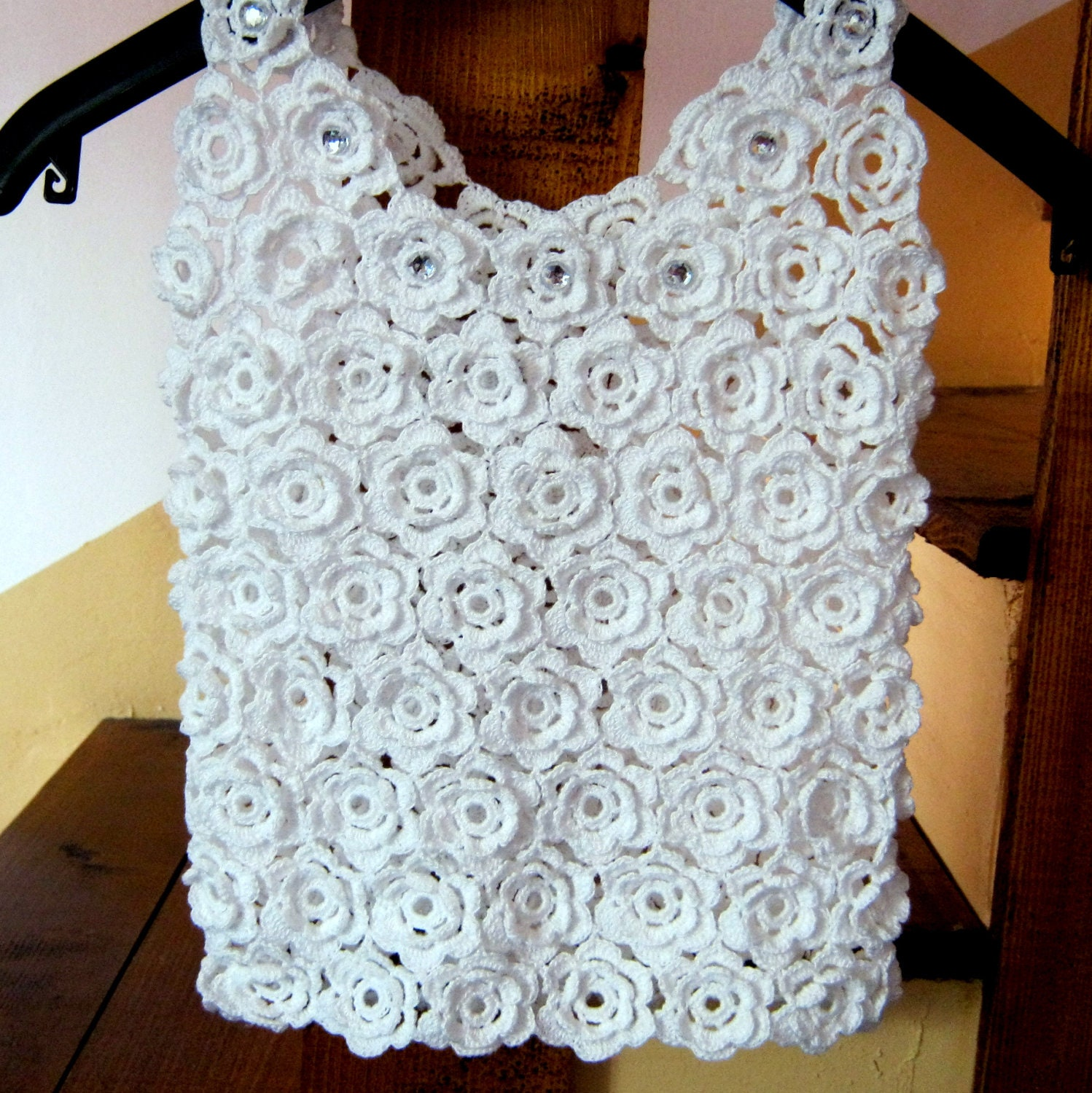 Irish lace white roses lace crochet top wedding dress for Crochet lace wedding dress pattern