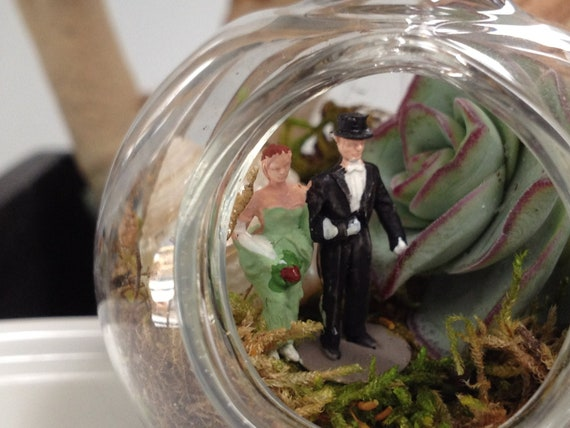 Bride and Groom Celebrate Inside a Terrarium Wedding Decor