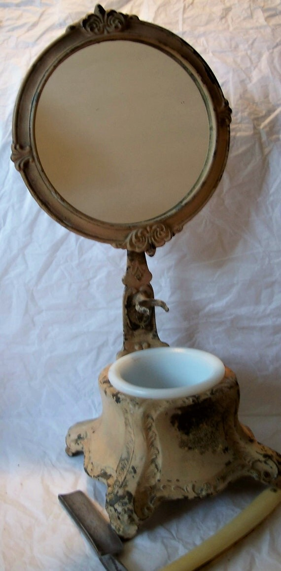 Antique Victorian Art Noveau Style Mirror Shaving Stand with Milk Glass Soap Bowl and Shaving brush holder