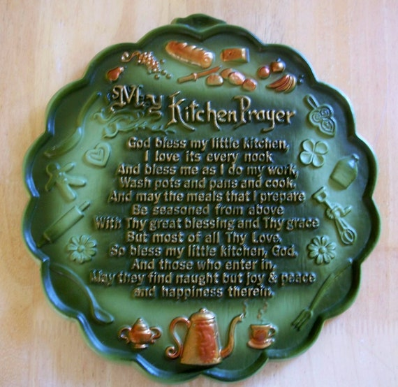 Vintage Chalkware Kitchen Prayer Plaque