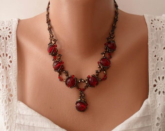 Burgundy Crystal Stone Necklace - Swarovski and Czech Crystal - Speacial Handmade Design
