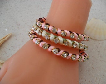 New Bracelets - Brown - Light Pink and Light Green Bracelets - Summer Style - 3 pcs. - New