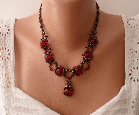 Burgundy Crystal Stone Necklace - Swarovski and Czech Crystal - Speacial Handmade Design