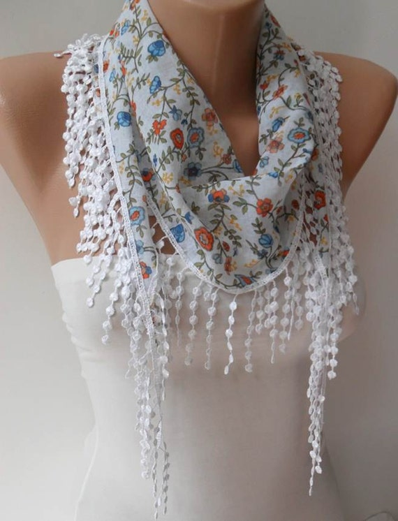 ON SALE - White and Flowered Scarf with White Trim Edge