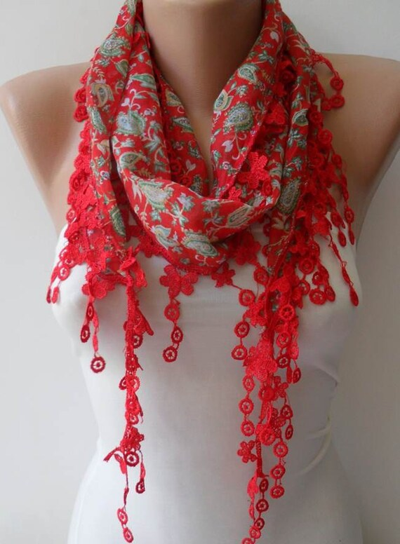 Red Scarf with Trim Edge - Summer Colors