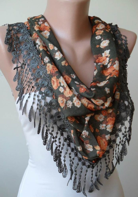 New - Gift Scarf - Green and Orange Flowered Scarf with Green Trim Edge - Triangular