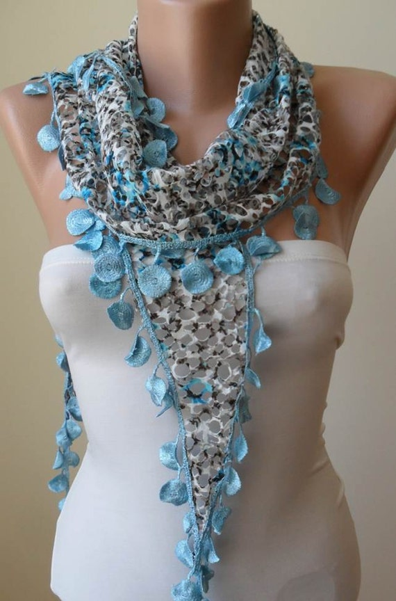 ON SALE -- Perforated Fabric - Blue Scarf with Blue Trim Edge