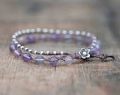Amethyst and Silver Waxed Linen Beaded Bracelet Finished with a Leather and Thai Silver Flower Clasp