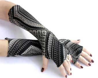 Long Abstract  fingerless gloves -  Arm Warmers , Gloves , Hand Warmers , Cuffs , Victoriian , Goth , Cotton