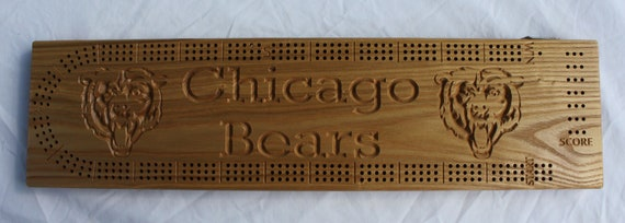 Chicago Bears Cribbage Board made from Black Ash