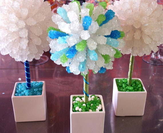 Green rock candy centerpiece topiary tree by