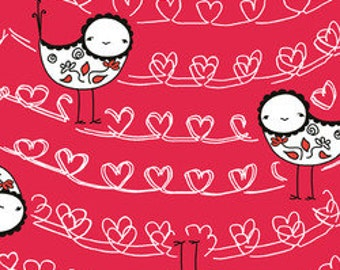 Red Thread: Birds on a Heart Wire Red by Marisa for Creative Thursday 1 Yard Cut