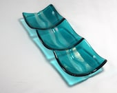 Fused Glass 3 Sectioned Dish- Caribbean Wave