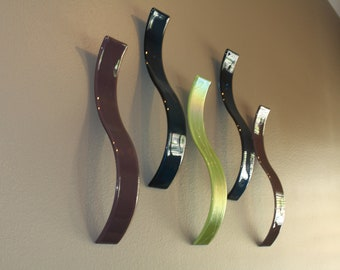 Custom Fused Glass Wall Art / Sculpture- Waves (Set of 5)