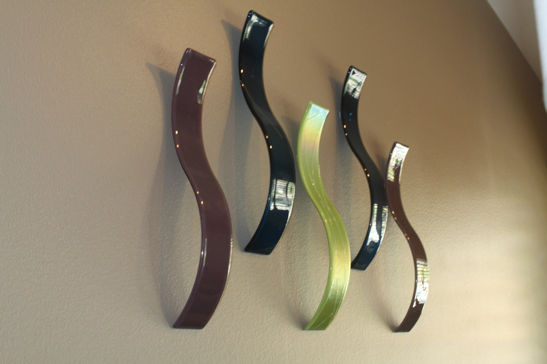 Custom Fused Glass Wall ArtSculpture Waves Set of 5