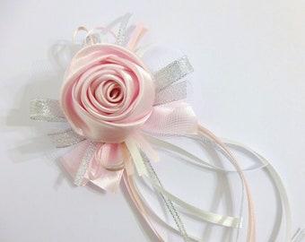 Wrist Corsage, Pink Satin Rose, bridesmaid Corsage