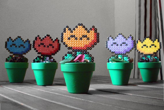 Super Mario inspired Potted Plant Retro Fire Flower. 5 different colors.