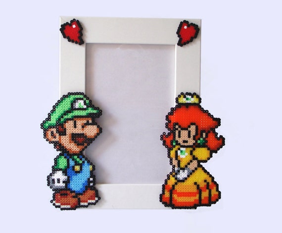 Luigi & Daisy - Paper Mario Picture Frame . White Frame with Luigi and Daisy. Horizontal or Vertical
