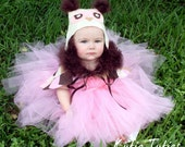 Pink or Aqua, Brown, Ivory, Owl Tutu Dress, Halloween Costume, Baby Girl Infant Toddler 12, 18, 24, 2t, 3t, 4t, 5t