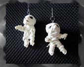 Reserved for Marion Mummy Earrings Wearable Art