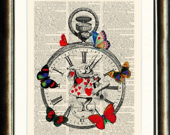 Alice in Wonderland book page print Vintage printed on a page from an Upcycled Antique late1800s Dictionary Buy 3 get 1 FREE