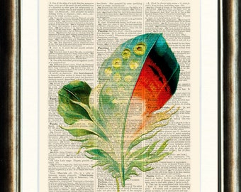 Feather Print - vintage print page book on a page from a late 1800s Upcycled Dictionary Buy 3 get 1 FREE