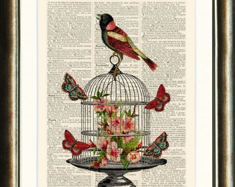 Bird and Bird Cage with Flowers - Upcycled vintage image printed on a late 1800s Dictionary page Buy 3 get 1 FREE