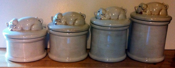 ceramic pig canisters hand painted 4 containers with lids