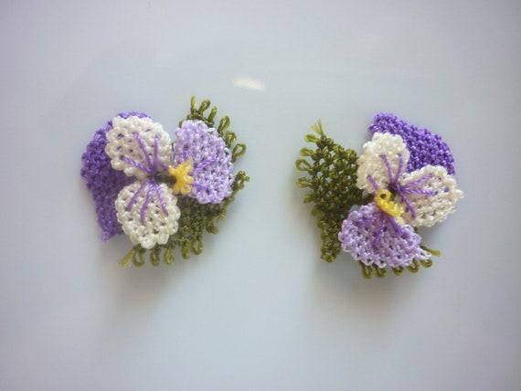 10 HANDMADE TURKISH OYA , 10 pcs handmade needle lace flowers,crochet flowers,oya flowers,Turkish crochet violet flowers purple and white
